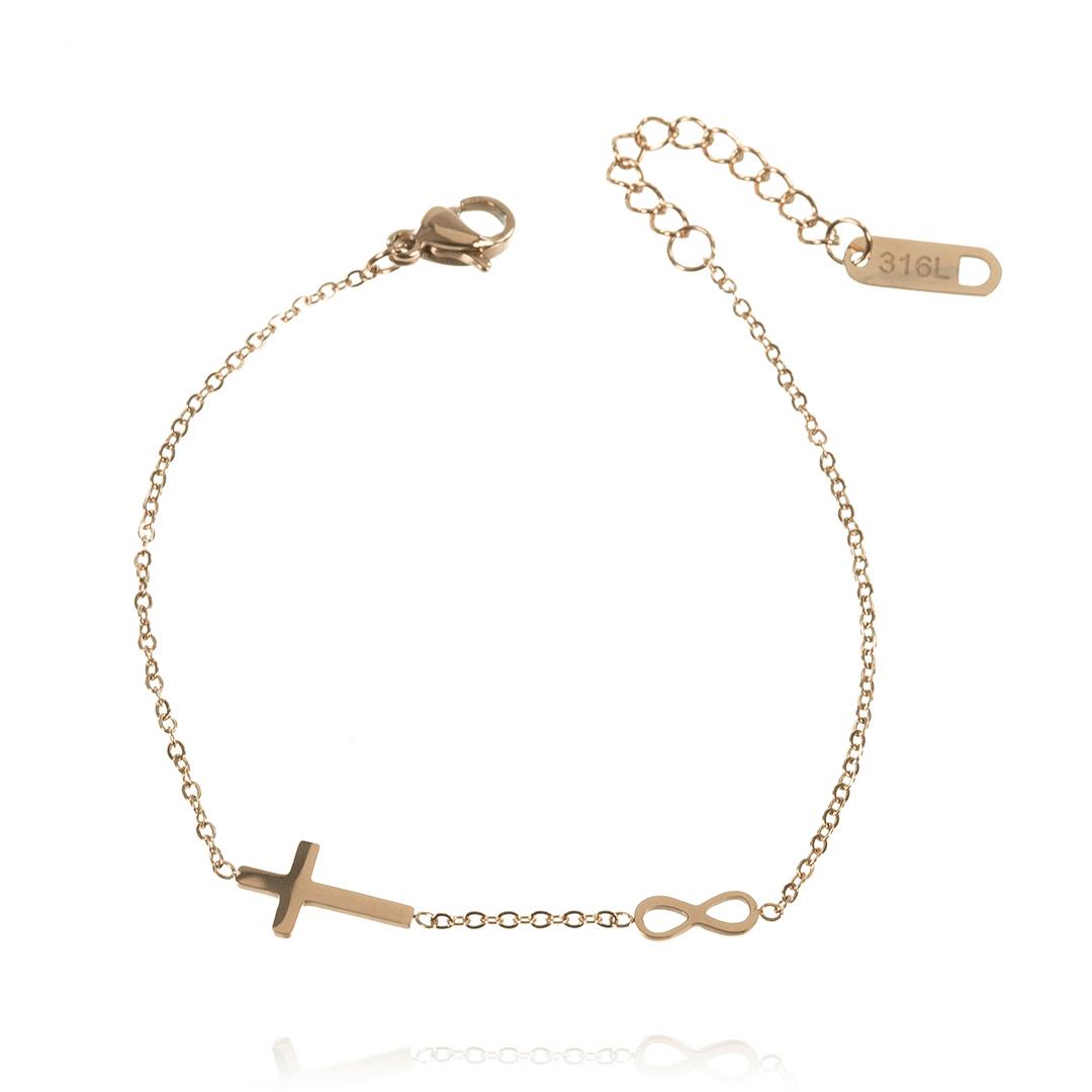b6d9c1a7685b99 Złota bransoletka celebrytka charms krzyżyk nieskończoność - LazyDots