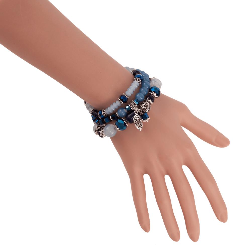 Niebiesko srebrne bransoletki z koralików ...
