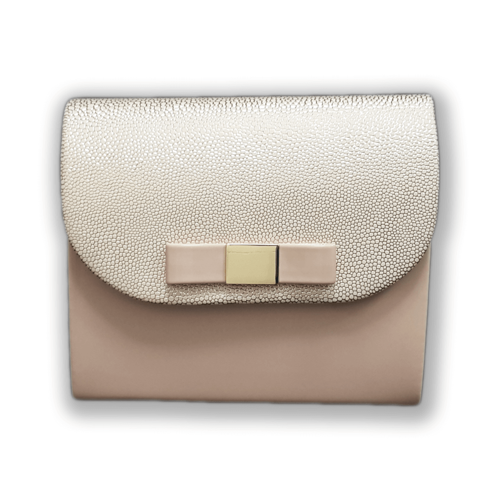 Beżowo złota torebka kopertówka wieczorowa z kokardką