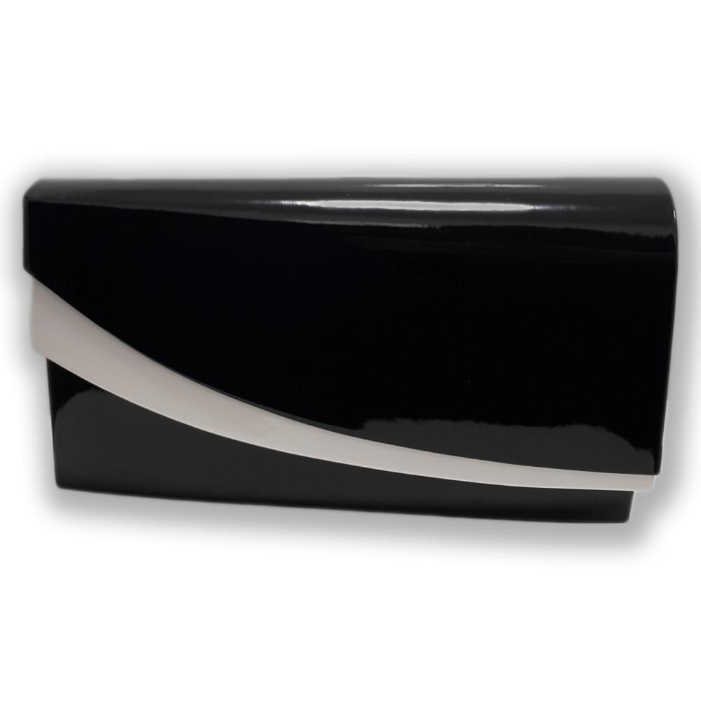 1021be60fee54 Czarno biała lakierowana torebka kopertówka wieczorowa