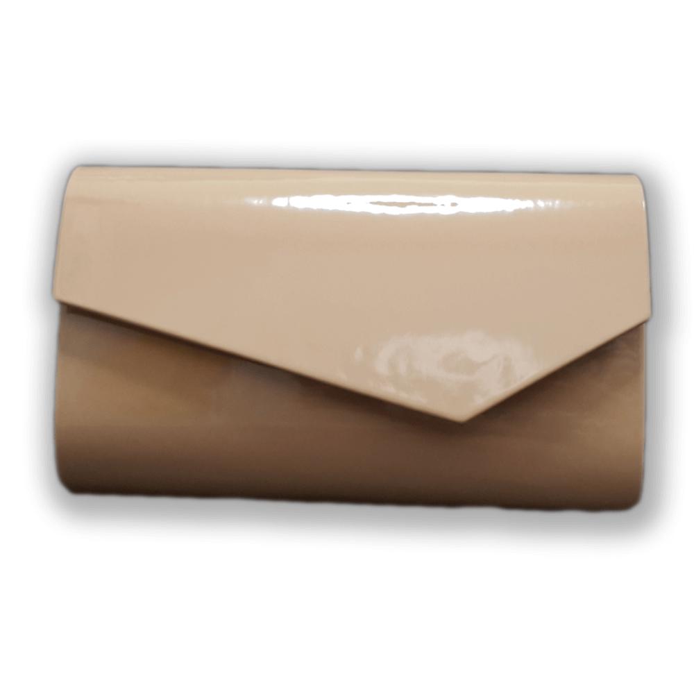 f66506c412dd9 Beżowa nude lakierowana torebka kopertówka wieczorowa