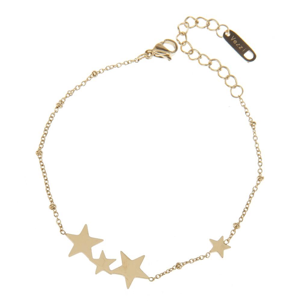 d25da680a0c2d6 Złota bransoletka celebrytka charms gwiazdy - LazyDots