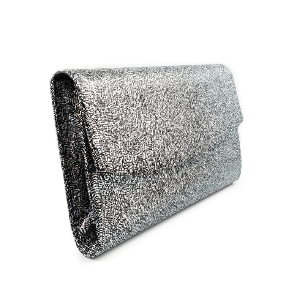 6092be1f07cb0 Srebrna torebka kopertówka brokatowa holograficzna